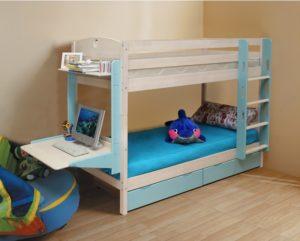 Кровать Двухъярусная массив с ящиками (трансформер)