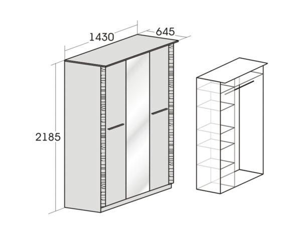 Шкаф трехдверный Элана наполнение