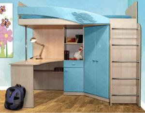 Кровать-чердак Адель - 2 голубой