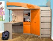 Кровать-чердак Адель - 2 оранжевый