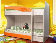 Кровать двухъярусная Адель - 1 оранжевый металлик