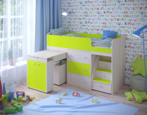 Кровать чердак Малыш 1800 дуб лайм
