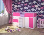 Кровать чердак Малыш 4 белое дерево розовый