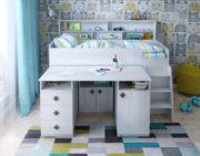 Кровать чердак Малыш 5 со столом