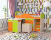 Кровать чердак Малыш Люкс оранжевый