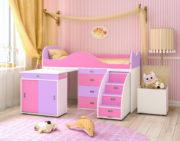 Кровать чердак Малыш Люкс розовый ирис