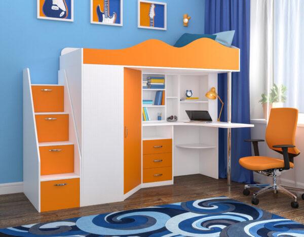 Кровать чердак «Пионер» оранжевый