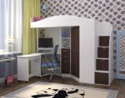 Кровать чердак Юниор 4 белое дерево бодего