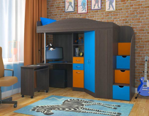 Кровать чердак Юниор 4 бодего голубой оранжевый