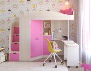 Кровать чердак Юниор 4 дуб беленый розовый