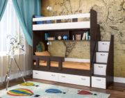 Двухъярусная кровать Юниор 1 белое дерево бодего