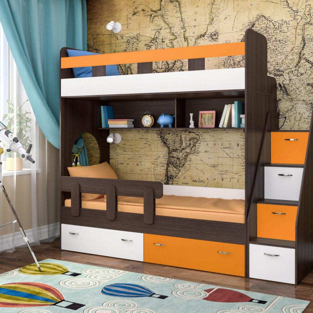 Двухъярусная кровать Юниор 1 бодего оранжевый белое дерево