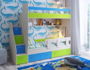 Двухъярусная кровать Юниор 1 дуб беленый лайм голубой