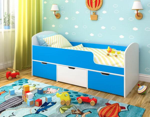 Кровать Малыш Мини белое дерево голубой