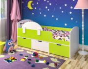 Кровать Малыш Мини белое дерево лайм