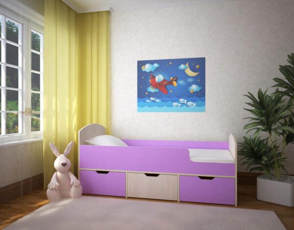 Кровать Малыш Мини дуб беленый ирис