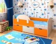 Кровать Малыш Мини дуб беленый оранжевый