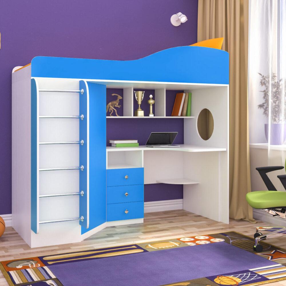 Кровать чердак Кадет 1 с металлической лестницей белое дерево голубой