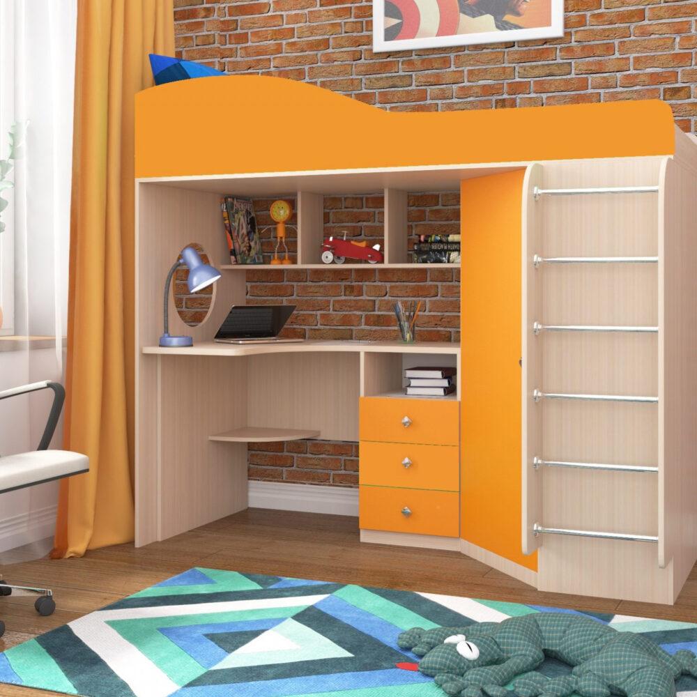 Кровать чердак Кадет 1 с металлической лестницей дуб беленый оранжевый