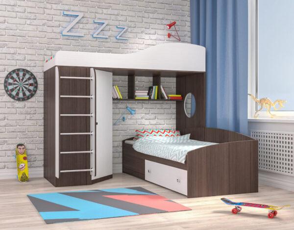 Кровать чердак Кадет 2 с металлической лестницей бодего белое дерево