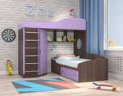 Кровать чердак Кадет 2 с металлической лестницей ирис