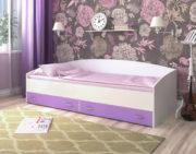 Кровать с выкатными ящиками белое дерево ирис