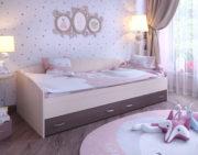 Кровать с выкатными ящиками дуб беленый бодего