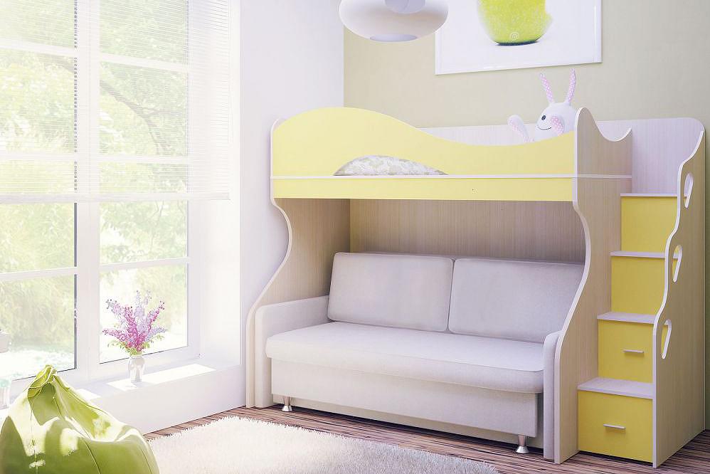 двухъярусная кровать с диваном внизу купить