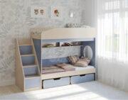 Двухъярусная кровать Легенда 10.3 венге светлый-голубой лён