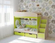 Двухъярусная кровать Легенда 10.3 венге светлый-лайм