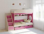 Двухъярусная кровать Легенда 10.3 венге светлый-розовый