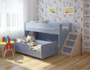 Двухъярусная кровать Легенда 23.4 венге светлый-голубой лён