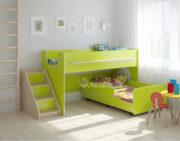 Двухъярусная кровать Легенда 23.4 венге светлый-лайм