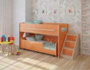 Двухъярусная кровать Легенда 23.4 венге светлый-оранжевый