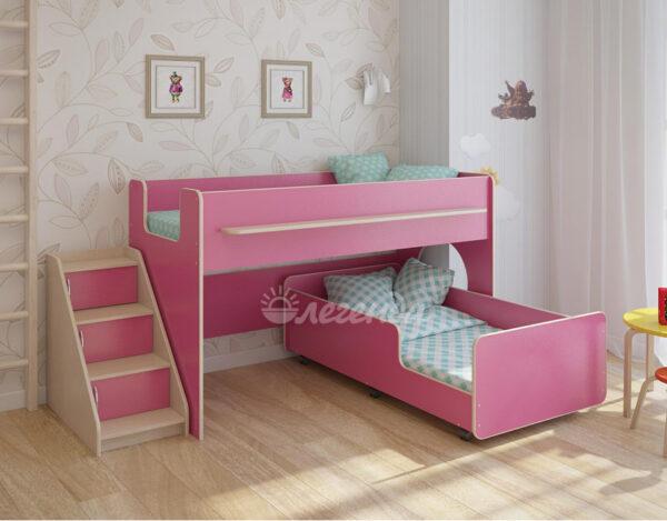 Двухъярусная кровать Легенда 23.4 венге светлый-розовый