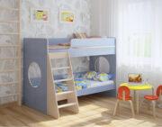 Двухъярусная кровать Легенда 25.1 венге светлый-голубой лён