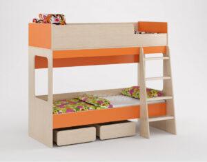 Двухъярусная кровать Легенда 38 венге светлый-оранжевый