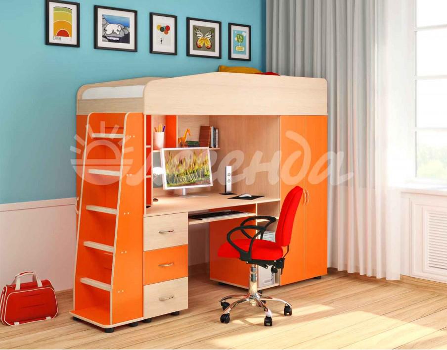Кровать чердак Легенда 1 венге светлый-оранжевый