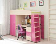 Кровать чердак Легенда 1 венге светлый-розовый
