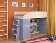 Кровать чердак Легенда 11.1 венге светлый-голубой лён
