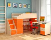 Кровать чердак Легенда 11.3 венге светлый-оранжевый
