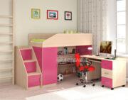 Кровать чердак Легенда 11.3 венге светлый-розовый
