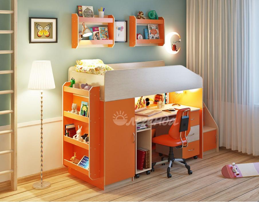 Кровать чердак Легенда 11.4 с полками венге светлый-оранжевый