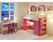Кровать чердак Легенда 11.4 с полками венге светлый-розовый