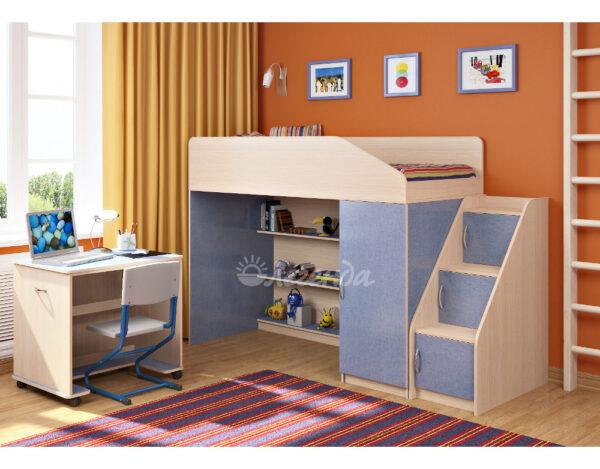 Кровать чердак Легенда 11.6 венге светлый-голубой лён