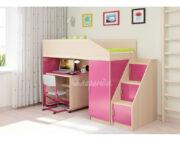Кровать чердак Легенда 11.6 венге светлый-розовый