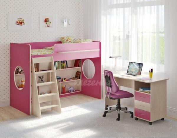 Кровать чердак Легенда 26.6 розовый