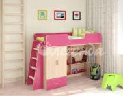 Кровать чердак Легенда 3.1 венге светлый-розовый