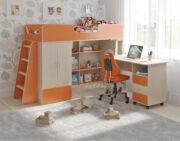Кровать чердак Легенда 3.13 венге светлый-оранжевый