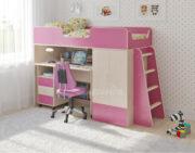 Кровать чердак Легенда 3.13 венге светлый-розовый